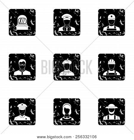 Occupation Icons Set. Grunge Illustration Of 9 Occupation Icons For Web