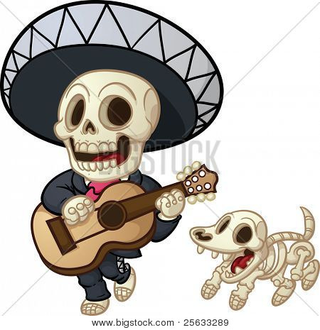 Cartoon dead mariachi walking and singing. Vector illustration with simple gradients. Mariachi and dog on separate layers for easy editing.