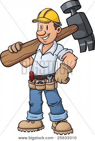 Cartoon bouwvakker uitvoering een grote hamer. Vectorillustratie met eenvoudig verlopen.