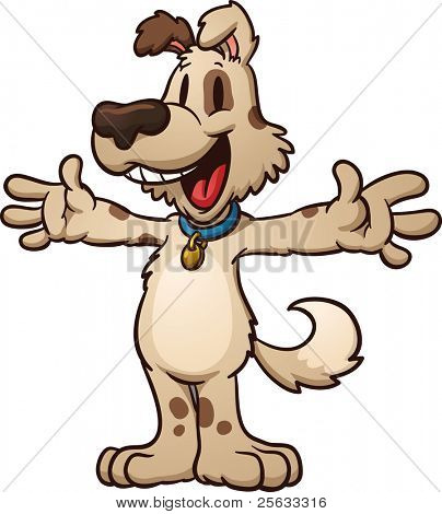 Cute cartoon dog ready for a hug. Vector illustration with simple gradients.