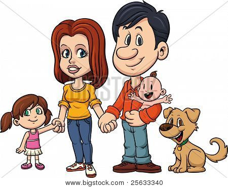 Happy family holding hands. All in a single layer.