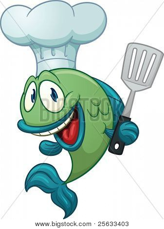 Cartoon chef fish holding a kitchen spatula. Vector illustration with simple gradients. All in a single layer.