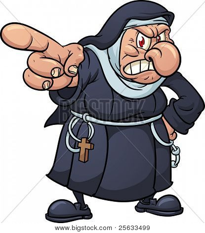 Angry cartoon nun pointing finger. Vector illustration with simple gradients. All in a single layer.