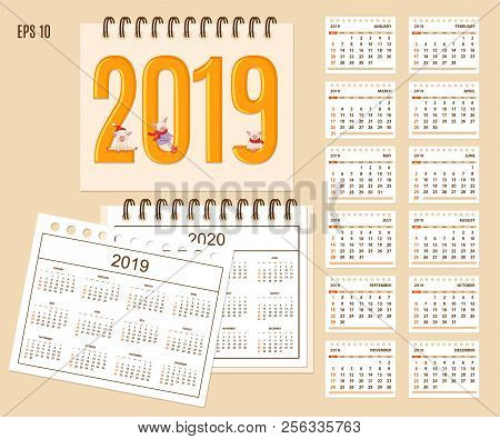 Desk Calendar Year 2019 With Cute Cartoon Piggies On Cover. Set Of 12-month Isolated Pages And  Full