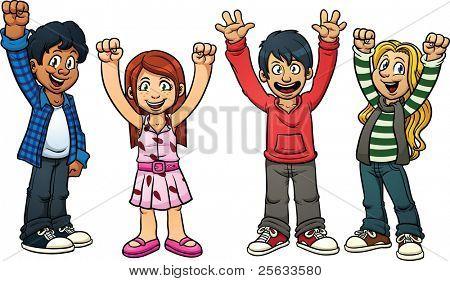 Opgewonden cartoon kinderen. Vectorillustratie met eenvoudig verlopen. Elk in een afzonderlijke laag voor eenvoudig e
