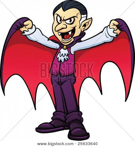 Cartoon vampire. Vector illustration with simple gradients. All in a single layer.