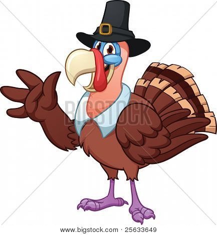 Cute cartoon Thanksgiving turkey. Vector illustration with simple gradients. All in a single layer. poster