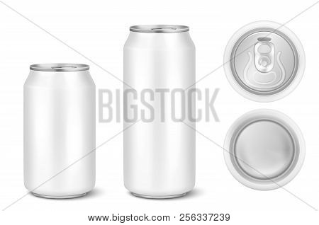 Vector Realistic 3d White Empty Glossy Metal Black Aluminium Beer Pack Or Can Visual 330ml 500ml. Ca