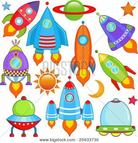 A colorful and cute vector collection of spaceship - Spacecraft, Rocket, UFO isolated on white
