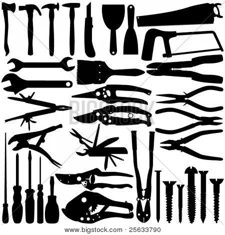 Un conjunto de Vector silueta - materiales de construcción / herramientas aislaron en blanco