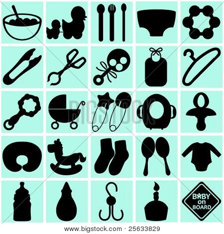 A vector collection of Accessories for Mom and Baby : silhouettes of tools (Black and White)