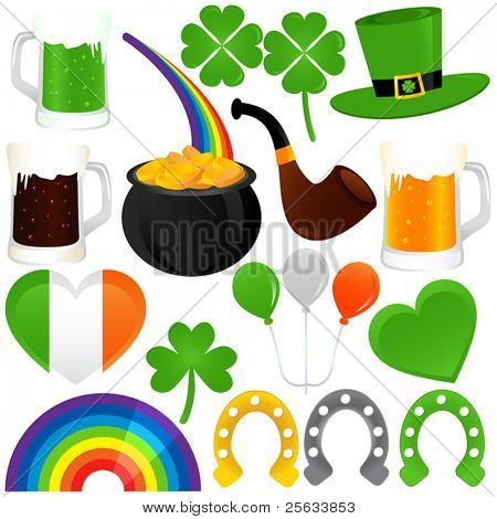 A colorful set of Vector Icons : Saint Patrick's Day, cold beer