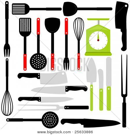 A Vector Silhouette of Cooking Utensils : knives, baking equipments isolated on white