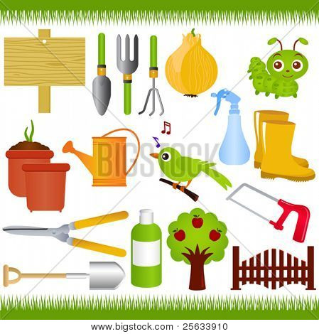 A colorful set of Vector Icons : Gardening, and garden tools/equipments