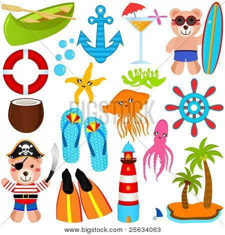 A colorful set of cute Bear Vector Icons : Summer Theme, isolated on white