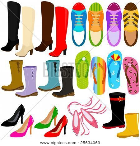 A colorful set of cute shoes (boots, high heels, sneakers) Vector Icons, isolated on white
