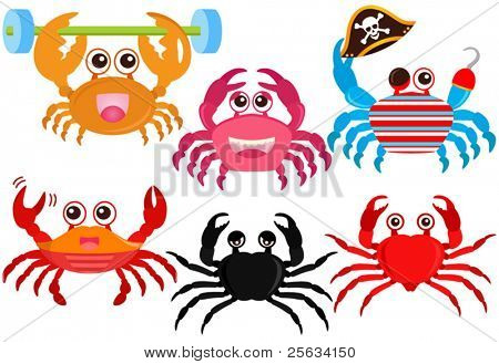 A colorful set of cute Animal Vector Icons : Cute colorful Crabs