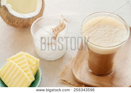 bulletproof coffee, blended with organic grass fed butter and MCT coconut oil, paleo, keto, ketogenic drink breakfast poster
