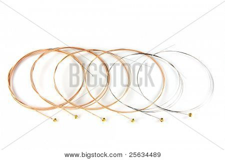 6 ultra thin coating Phosphor Bronze Acoustic Guitar Strings on white background