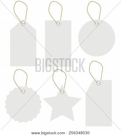 White Label Tag Set Isolated On White Background. Blank Tag. Flat Style. Sale Tag Set. White Labels