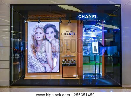 Chanel Cosmetic Display At Siam Paragon, Bangkok, Thailand, May 9, 2018 : Luxury Cosmetic Visual Mer