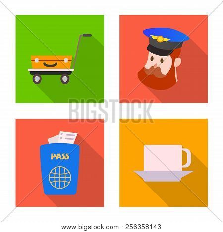 Vector Illustration Of Airport And Airplane Icon. Set Of Airport And Plane Stock Symbol For Web.
