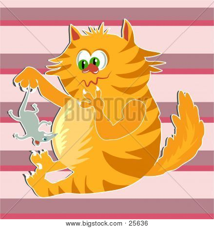 poster of ginger cat toying with a mouse.