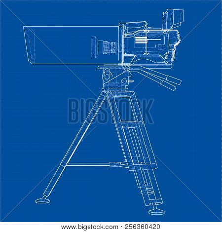 Movie-cinema Camera Concept. Vector Rendering Of 3d. Wire-frame Style. The Layers Of Visible And Inv