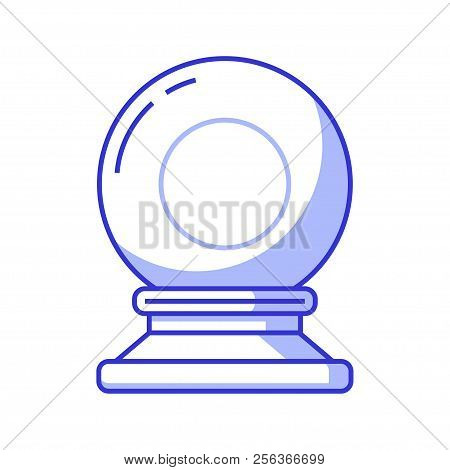 Fortune Teller Crystal Sphere Icon. Glass Wizard Magic Ball For Mystic Rituals And Prediction.