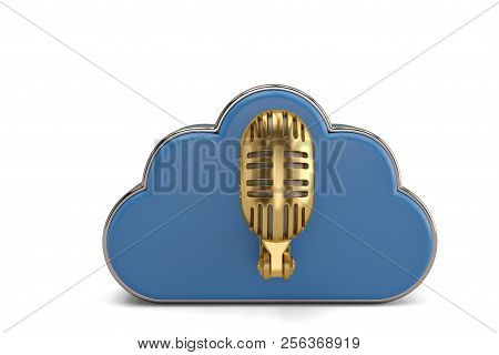 Cloud Computing Multimedia Concept Cloud With Gold Microphone On White Background.3D Illustration.