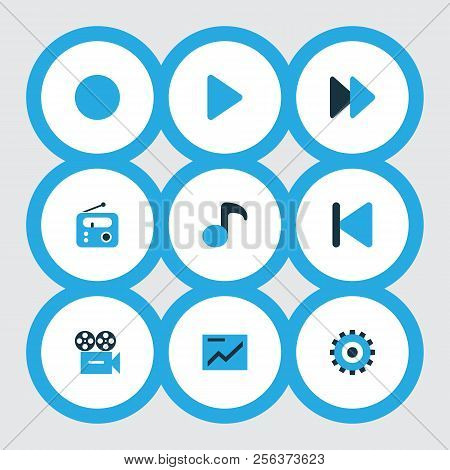 Music Icons Colored Set With Backward, Setting, Presentation And Other Tuner Elements. Isolated Vect