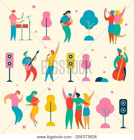 Colorful Modern Flat Characters Set For Jazz, Rock Music Fest Concept-singer, Musicians, Guitar, Sax