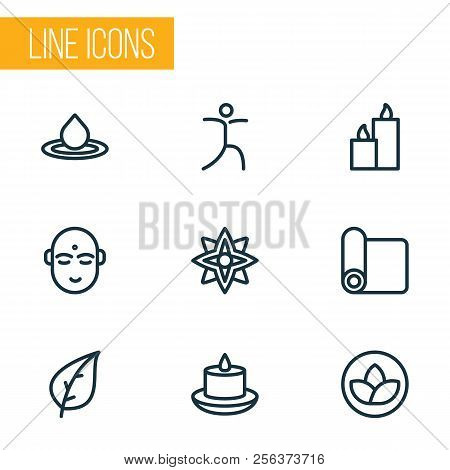 Spiritual icons line style set with yoga mat, water drop, paraffin and other splash  elements. Isolated vector illustration spiritual icons. poster