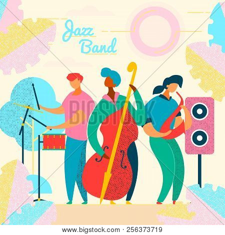 Colorful Modern Flat Characters Musical Band, Jazz, Rock, Blues Concept.musicians With Instruments,