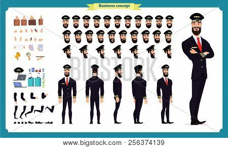 Pilot Character Creation Set.icons With Different Types Of Faces And Hair Style, Emotions,front,rear