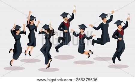 Isometrics Graduates Girls And Boys, Jump, Academic Robes, Hats, Rejoice, Diplomas, Graduates. Set O