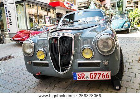 Saalbach-hinterglemm, Austria - June 21 2018: Vintage Italian Car Lancia Lancia Aurelia B 20 From 19