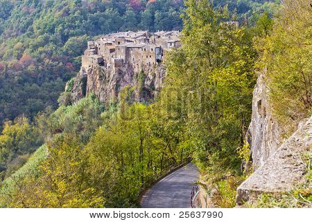 Panorama Of Calcata, Italy.