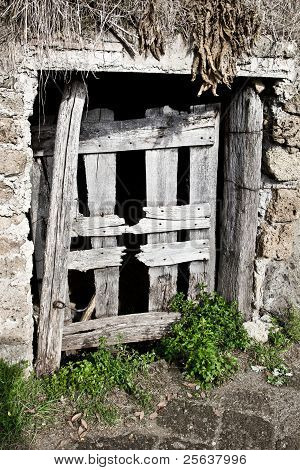 Wooden Door Of A Cellar In The Country, Italy.