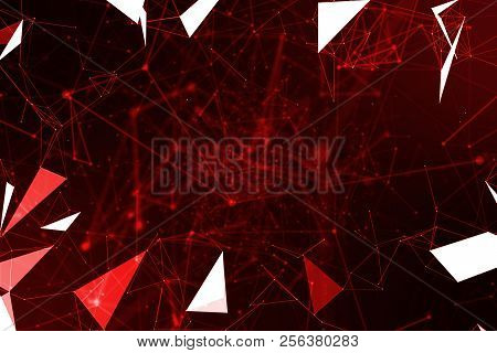 Abstract Red Geometrical Plexus Flowing Movement On Black Background With Lines And Dots