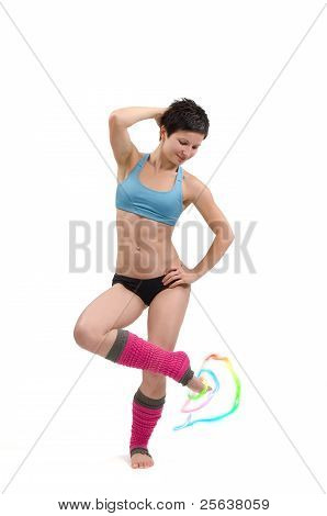 Aerobic Posing With Colorful Circles