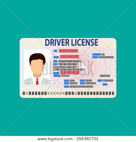 Car Driver License Identification Card With Photo. Driver License Vehicle Identity Document. Plastic