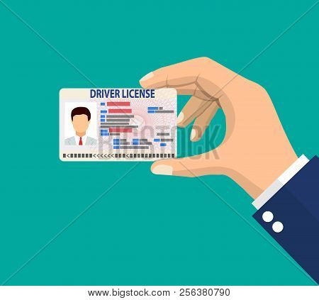 Car Driver License Identification Card In Hand With Photo. Driver License Vehicle Identity Document.