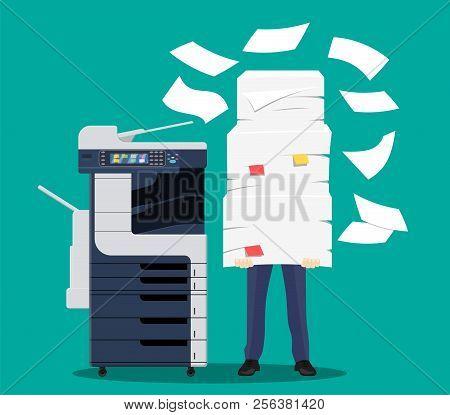 Businessman In Pile Of Papers. Office Multifunction Machine. Bureaucracy, Paperwork, Overwork, Offic