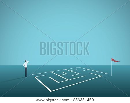 Business Solution Vector Concept With Businessman Standing In Front Of Maze, Labyrinth. Symbol Of Ch