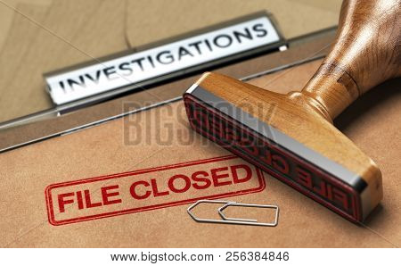 3d Illustration Of An Investigation File With A Rubber Stamp And The Word File Closed. Concept Of Un