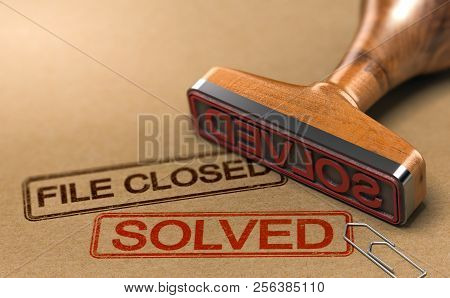 3d Illustration Of An Investigation File With A Rubber Stamp And The Words File Closed And Solved. C