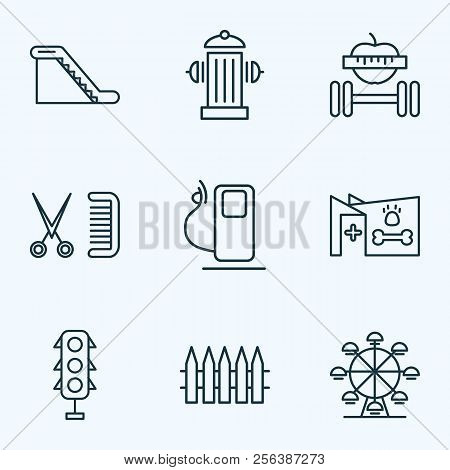 Public. Skyline Icons Line Style Set With Wooden Fence, Fitness, Veterinary And Other Palisade Eleme