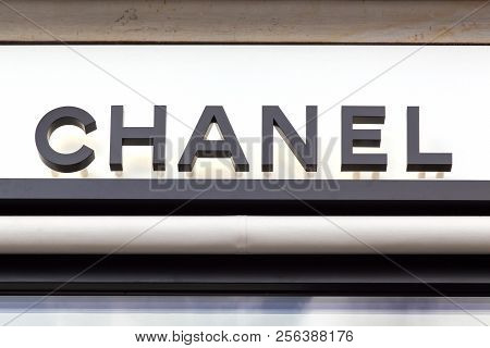 Copenhagen, Denmark - August 26, 2018: Chanel Logo On A Wall. Chanel Is A French High Fashion House