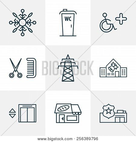 Urban Icons Line Style Set With Bakery, School, Disabled Sign And Other Lift Elements. Isolated Vect
